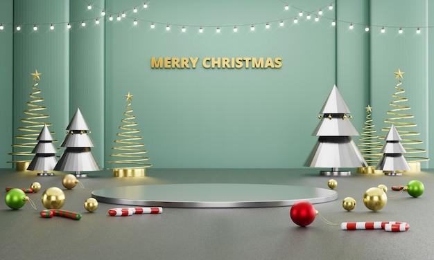 Het abstracte stadium van luxe vrolijke kerstmis met decoratie