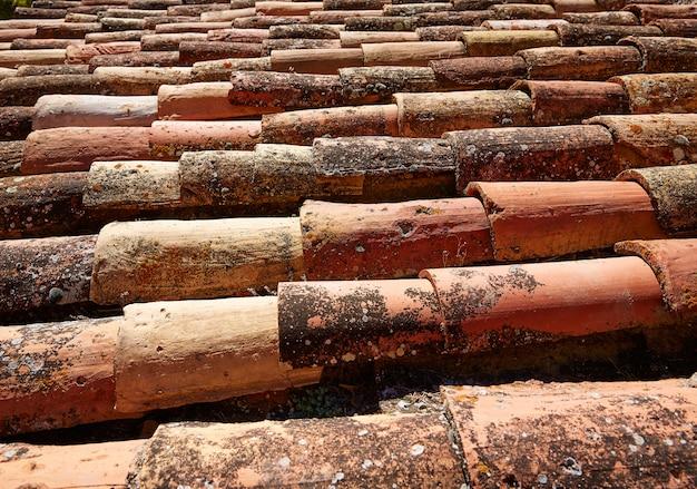 Het arabische dak betegelt patroontextuur in teruel spanje
