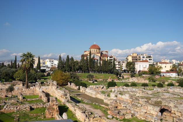Het archeologisch museum van kerameikos bevindt zich in kerameikos, athene, griekenland