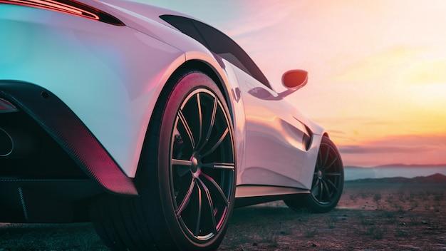 Het beeld achter in de sportwagen scene.
