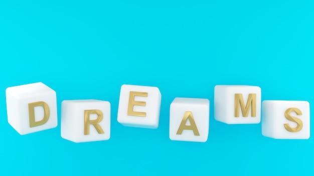 Het beeld van dromen op de dobbelstenen show vertegenwoordigen dromende letter dream3d-rendering
