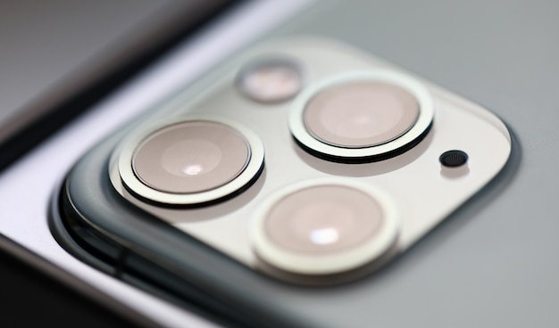 Het beeldclose-up van de iphone pro digitale camera