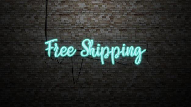 Het bericht gratis verzending op bakstenen muur