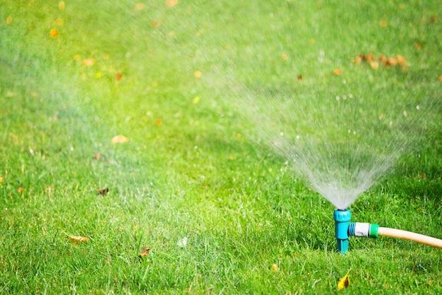 Het bespuitende water van de watersproeier op gazon
