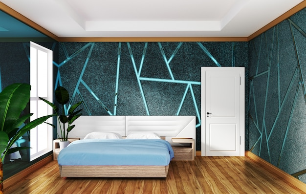 Het binnenland van de zolderslaapkamer met het vormen van blauwe concrete achtergrond, minimale ontwerpen.