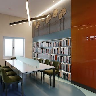 Het binnenland van een bibliotheek met 3d boekenrek, lijst en stoelen, geeft terug