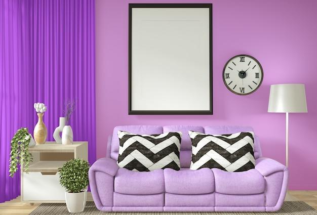 Het binnenlandse affichekader bespot omhoog woonkamer met het purpere muur andl witte bank 3d teruggeven