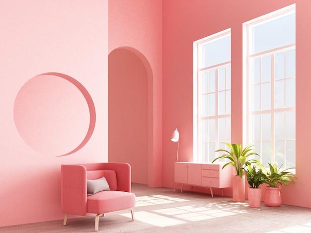 Het binnenlandse concept memphis ontwerpt kleurrijke leunstoel met 3d console en installatie geeft terug