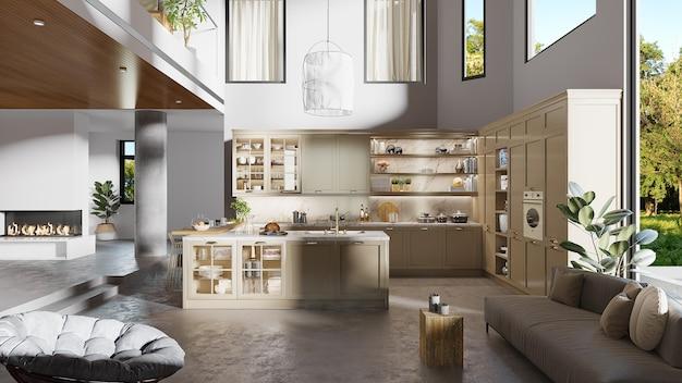 Het binnenlandse ontwerp van een keuken met 3d keukenkast en woonkamermeubilair, geeft terug