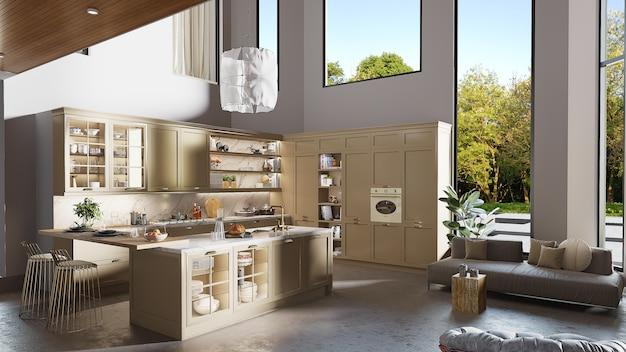 Het binnenlandse ontwerp van een keuken met 3d keukenkast, geeft terug