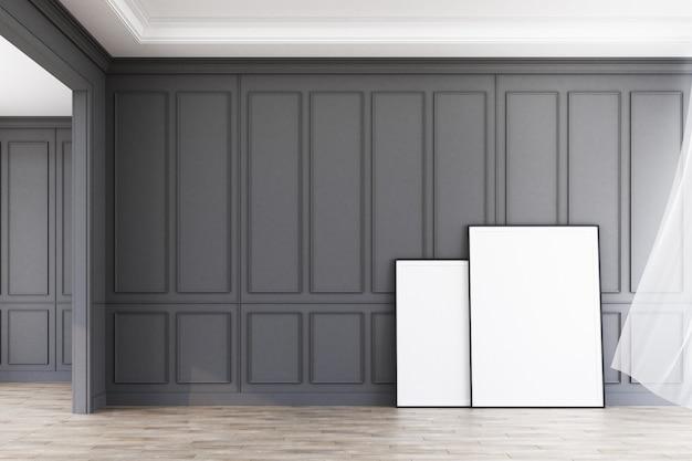 Het binnenlandse ruimte moderne klassieke grijze patroon verfraait muur en houten vloer met kunstwerk het 3d teruggeven