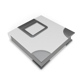 Het blanco album van de omslagfoto dat op witte achtergrond wordt geïsoleerd. 3d-afbeelding.