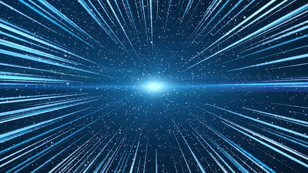 Het blauw in het midden, met blauwe en witte lichtlijnen.