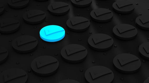 Het blauwe contrast van de geometrische vorm is anders op een donkere achtergrond