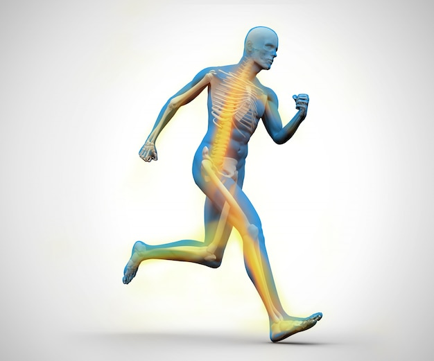 Het blauwe en gele digitale skelet lopen