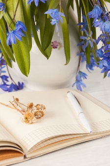 Het boeket van blauwe sleutelbloemen op tafel
