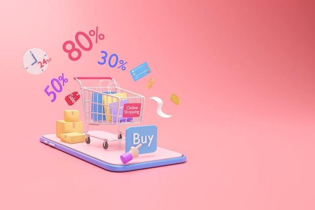 Het boodschappenwagentje op smartphone met het winkelen online sociale media toepassingsconcept, 3d productkorting, geeft terug