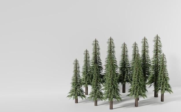 Het bos van de pijnboomboom op witte oppervlakte