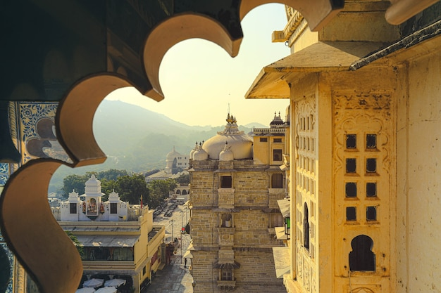 Het bouwen van architectuur van het stadspaleis in de staat rajasthan