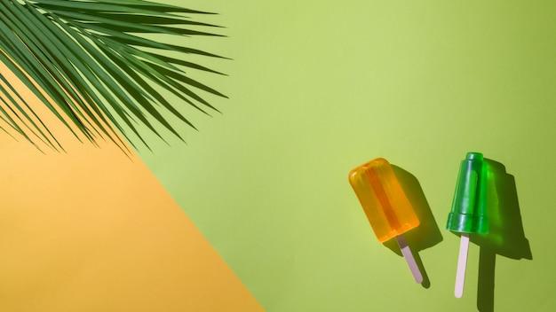 Het bovenaanzicht van limoen en sinaasappelsmaakijslollys, palmblad en exemplaarruimte op vlakte legt gele en groene achtergrond