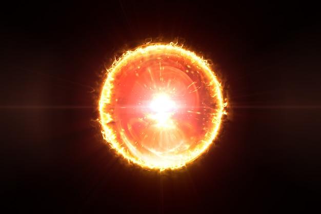 Het branden van abstracte 3d illustratie van de brandbal op zwarte achtergrond