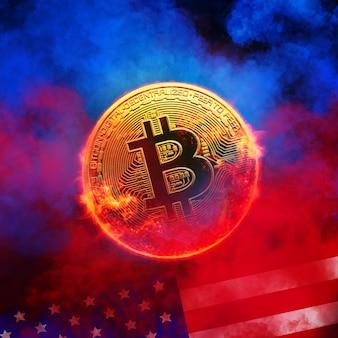 Het branden van gouden bitcoinmuntstuk op de vlag van de v.s. in rode rookachtergrond