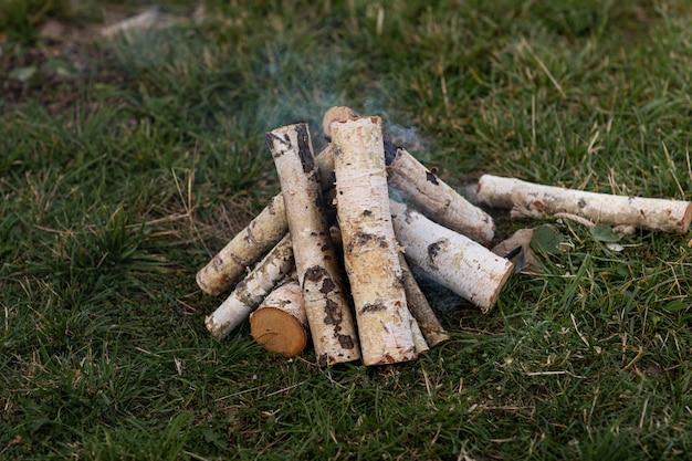 Het brandhout van de berk dat wordt gestapeld om een vuur op het gras aan te steken