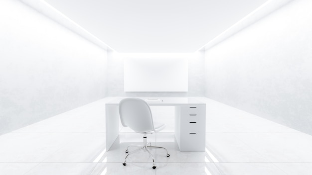 Het bureau stond midden in een lege witte kamer.