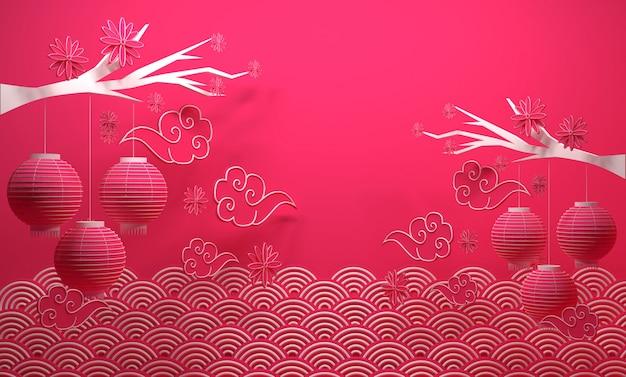 Het chinese nieuwjaarbanner 3d teruggeven als achtergrond