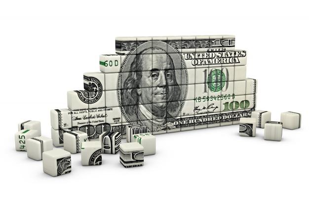 Het cijfer van de kubussen in de vorm van een dollar