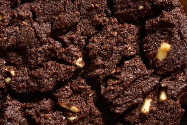 Het close-up macrodetail van het chocoladekoekje