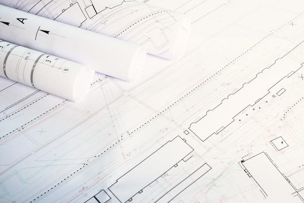 Het concept van architectuur. bouwblauwdrukken plannen tekeningen