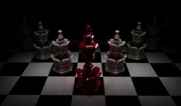 Het concept van de schaakleiding met rode koning en witte die panden op zwarte achtergrond worden geïsoleerd.