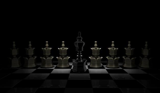 Het concept van de schaakleiding met zwarte koning en witte die panden op zwarte achtergrond worden geïsoleerd.