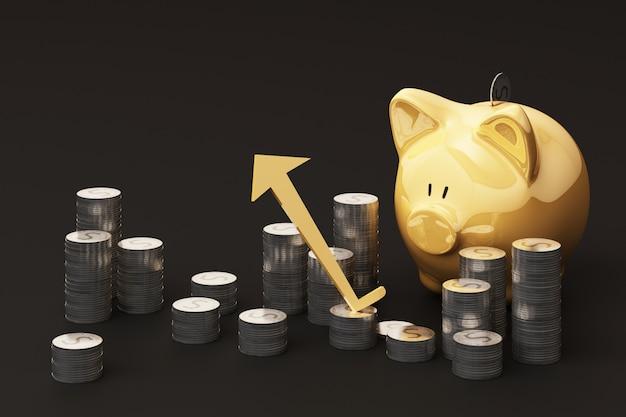 Het concept van het besparingsgeld, bedrijfs rijk inkomen toont als het muntstuk groeiende pijl van het stapelgeld met de glimlach van het spaarvarken over muntstukken stapel het 3d teruggeven