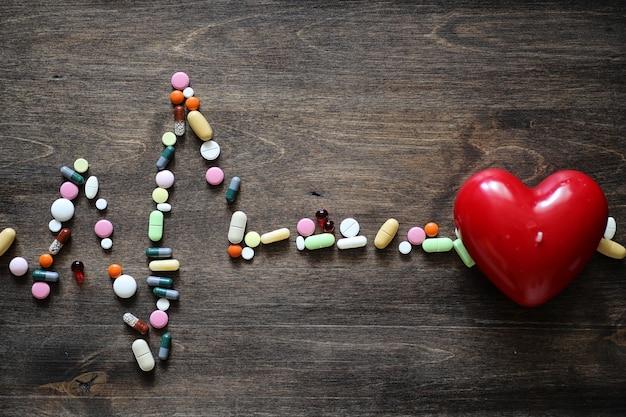 Het concept van medische zorg voor het hartritme van hartaandoeningen in de tabel met tablets