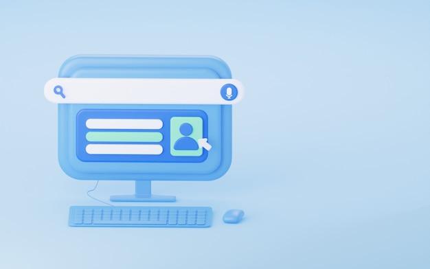 Het concept van online registratie van een 3d-rendering van een gebruikersaccount