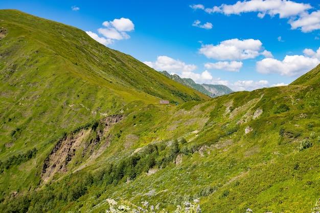 Het concept van reizen. weiden en velden. berglandschap met groen gras en lucht.