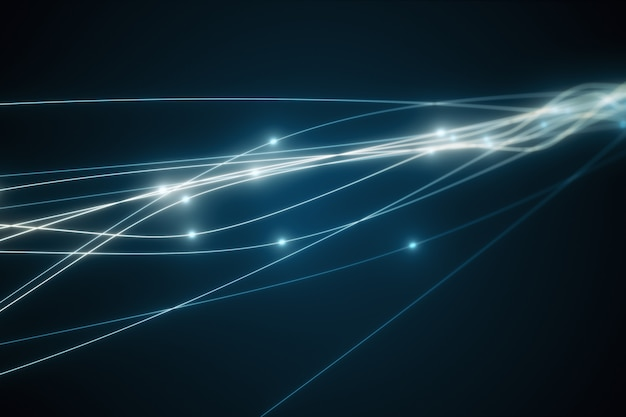 Het concept van signaaloverdracht via een optische vezel 3d illustratie