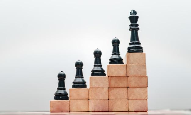Het concept van zakelijk succes met een schaakbord