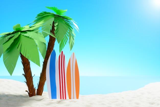 Het concept van zomervakantie. prachtig uitzicht op de zanderige kust achtergrond met palmbomen en surfplanken