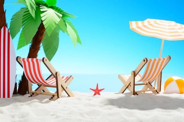 Het concept van zomervakantie. prachtig uitzicht op de zanderige kust achtergrond met palmbomen en vakantie accessoires zomer achtergrond