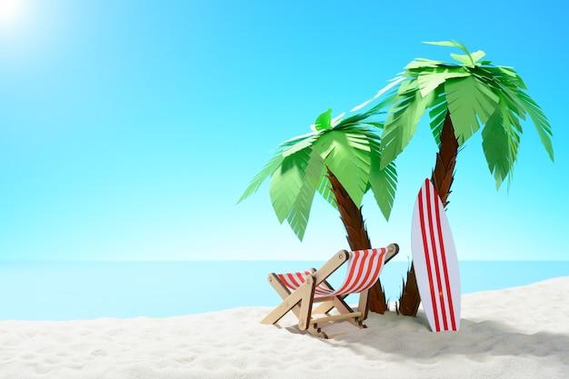 Het concept van zomervakantie. prachtig uitzicht op de zanderige kust achtergrond met palmbomen en vakantieaccessoires v