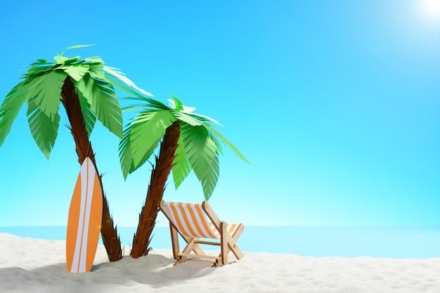Het concept van zomervakantie. prachtig uitzicht op de zanderige kust achtergrond met palmbomen en vakantieaccessoires