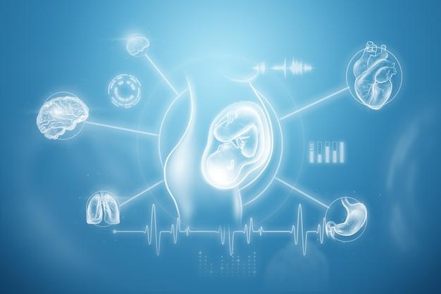 Het concept van zwangerschap, kunstmatige inseminatie, medisch onderzoek, de toekomst van de geneeskunde. 3d illustratie, 3d render.