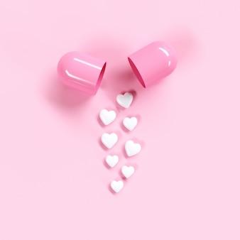 Het conceptidee van het pillenhart op roze kleurenachtergrond. minimale valentijnsideeën. 3d render.