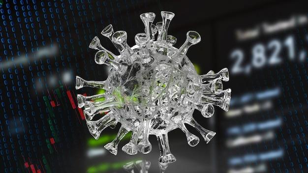 Het coronavirus. en zakelijke grafiek voor medische sci of marketing concept 3d-rendering.