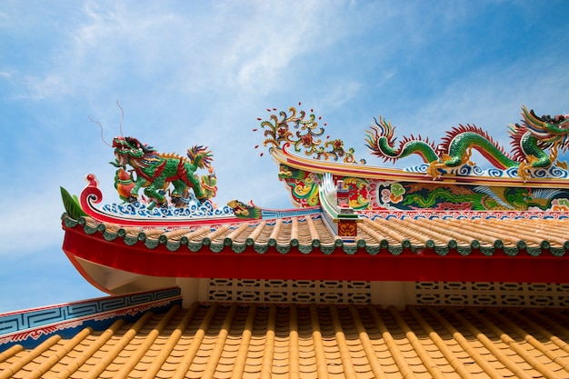Het dak van tempel chinees, chinese oude architectuur
