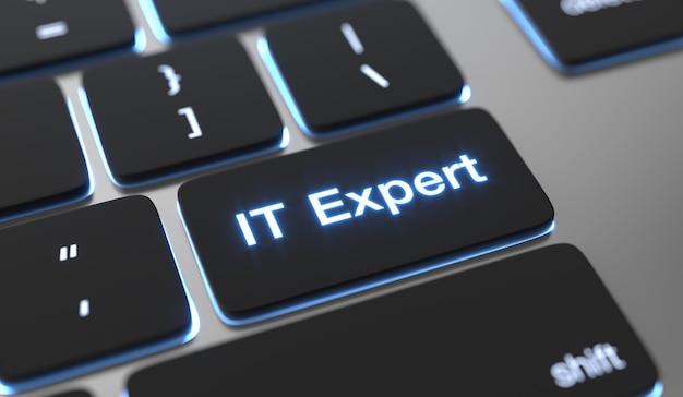Het deskundige tekst op toetsenbordknop.