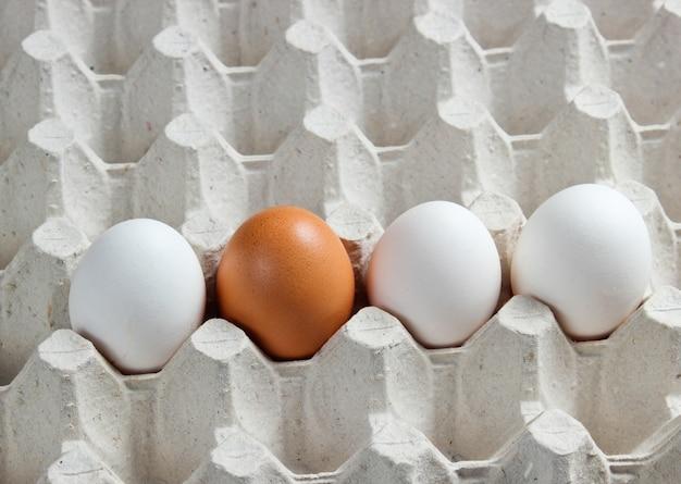 Het dienblad van eieren sluit omhoog.